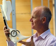 Jim Woodburn with 3D printed orthotic device