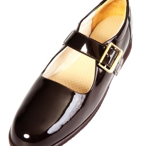 Challis Ladies Shoe in Patent Burgandy Leather