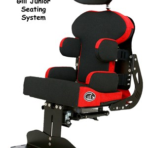 Black Gill III Junior seat system for wheelchair with red